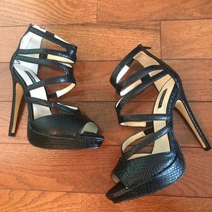 Shoemint - Appolina - Black Snake Print Heels
